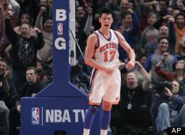 New York Knicks' Jeremy Lin during the second half of an NBA basketball game in New York, Sunday, Feb. 19, 2012. The KNicks beat the Mavericks 104-97. (AP Photo/Seth Wenig)