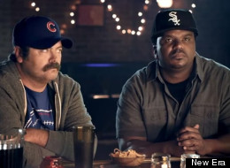 Nick Offerman and Craig Robinson engage in a staredown in the final round of their Cubs vs. Sox showdown.
