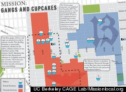 Mission Possible map showing gang territory vs. cupcake shops.
