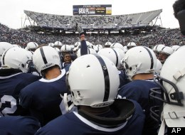 The Penn State football team gathers on the field after warmups before an NCAA college football game against Michigan State at Beaver Stadium in State College, Pa., Saturday, Nov. 27, 2010.