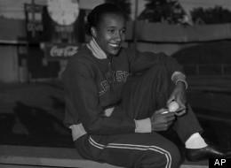 Alice Coachman of Albany, Ga., winner of high jump event in Grand Rapids, Iowa, July 6, 1948. (AP Photo)