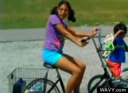 A thief stole a tricycle from Melanie, seen here in an undated photo.