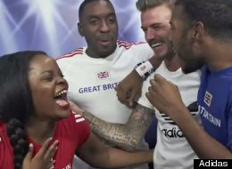 David Beckham surprises fans in a photo booth sponsored by Adidas.