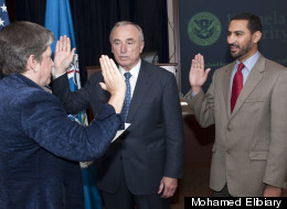 Mohamed Elibiary (right) being sworn into Homeland Security Advisory Council by Department of Homeland Security Secretary Janet Napolitano in October 2010.
