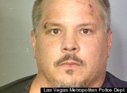 Ronald Hetzel, 41, allegedly broke into a Las Vegas home by opening a window and then struck the owner over the head with a wooden guitar and a porcelain toilet bowl lid during a confrontation,