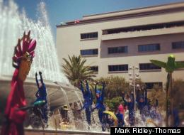Grand Park opened with a splash in downtown LA Thursday.