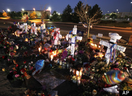 Memorial set up outside Aurora, Colo. movie theater where 12 people were killed during a screening of