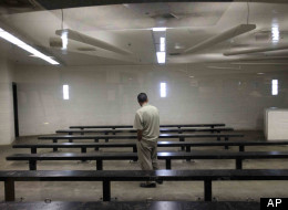 A man waiting to be processed at a Border Patrol detention center in Imperial Beach, Calif., Jan. 11, 2012.