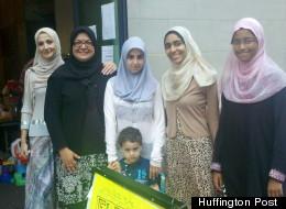 Flea Market Volunteers outside Muslim Community Center in Astoria on July 28, 2012
