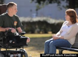 Mark Litynsk, who lost three limbs and his genitals to a bomb blast in Afghanistan, pictured with his wife Heather.