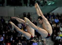 Canada's Alexandre Despatie and Reuben Ross in the Men's Synchronised 3m Springboard Final during the 18th FINA Visa Diving World Cup at the Aquatics Centre in the Olympic Park, London. (PA)