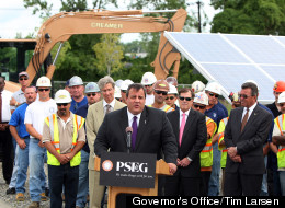 Governor Chris Christie attends and speaks at the groundbreaking ceremony for the PSE&G renewable energy solar farm in Hackensack, N.J. on Tuesday, July 31, 2012.