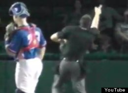 Home plate umpire Mario Seneca ejects Daytona Cubs intern Derek Dye for playing 'Three Blind Mice.'