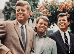 Brothers John F. Kennedy (left), Robert Kennedy and Ted Kennedy at Hyannis Port, Mass., after John returned from the Democratic National Convention where he received the party's presidential nomination in 1960. (AP Photo/HO)