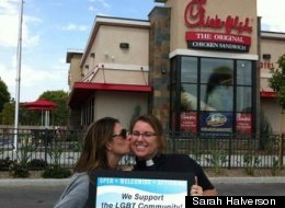 Pastor Sarah Halverson gets a kiss on the cheek on Chick-Fil-A Kiss Day