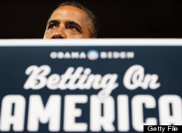 US President Barack Obama speaks during a campaign rally at Dobbins Elementary School in Poland, Ohio, July 6, 2012, while on a bus tour of Ohio and Pennsylvania. (JIM WATSON/AFP/GettyImages)