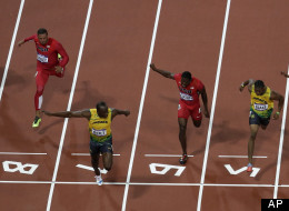 Jamaica's Usain Bolt crosses the finish line to win gold in the men's 100-meter final during the athletics competition in the Olympic Stadium at the 2012 Summer Olympics, Sunday, Aug. 5, 2012, in London. (AP Photo/Mark Duncan)