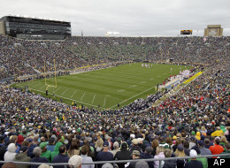 Notre Dame Stadium is shown during thier game against Stanford during second half of an NCAA college football game in South Bend, Ind., Saturday, Sept. 25, 2010. Stanford defeated Notre Dame 37-14. (AP Photo/Michael Conroy)