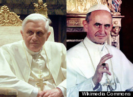 On the left, Pope Benedict XVI and on the right, Pope Paul VI