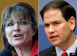 Former Alaska Gov. Sarah Palin (R) and Sen. Marco Rubio (R-Fla.). (AP Photos/Stephan Savoia /Jacquelyn Martin)