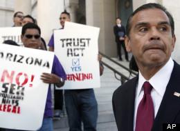 Los Angeles Mayor Antonio Villaraigosa, talks to the media at a news conference during a demonstration in Los Angeles. (AP Photo/Nick Ut)