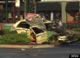 The wreckage after an accident early Tuesday that killed one pedestrian. (WGN)