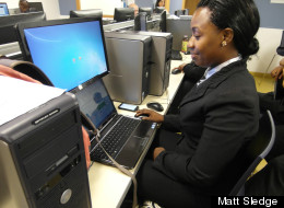 Adrienne Peart, a student in Per Scholas's CompTIA A+ certification class.