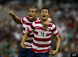 U.S Michael Orozco, right, celebrates with teammate Terrence Boyd after scoring during a friendly soccer game against Mexico in Mexico City, Wednesday, Aug. 15, 2012.