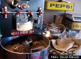 Coffee roasting at Ipsento, one of the stops along the new Blue Line Coffee Crawl.