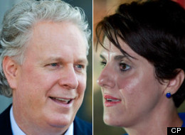 Liberal Leader Jean Charest, campaigning for re-election, was asked twice at a news conference Thursday about comments made against Djemila Benhabib, a Parti Quebecois candidate with Algerian roots. (CP)