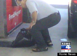 A Canadian man is caught filling garbage bags with gasoline at a Fred Meyer gas station in Bellingham, Wash. (Komo News)
