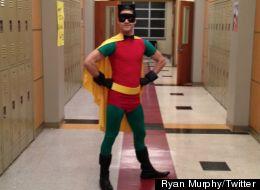 Darren Criss on set of