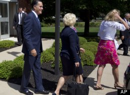 Republican presidential candidate, former Massachusetts Gov. Mitt Romney leaves the Church of Jesus Christ of Latter-day Saints after services on Sunday, Aug. 19, 2012 in Wolefboro, N.H. (AP Photo/Evan Vucci)