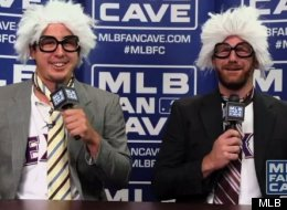 Texas Rangers pitchers Derek Holland and Ryan Dempster impersonate former Chicago Cubs announcer Harry Caray at the MLB Fan Cave,