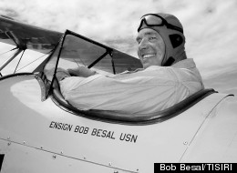 Bob Besal in another aircraft, a Navy N3N-3 trainer, in 2008.