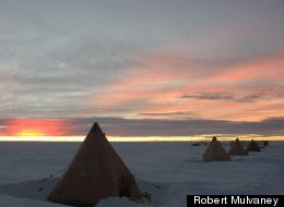 A camp set up by researchers collecting an ice core from a mountain on James Ross Island off the northeastern tip of the Antarctic Peninsula.
