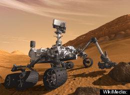 NASA's Mars rover Curiosity on Mars in a pre-landing artist's conception.