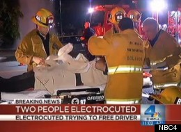 Two good samaritans were electrocuted trying to save people from a crashed car.