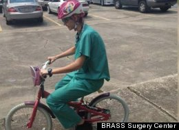 When a traffic jam kept surgeon Catherine Baucom from driving to work to meet a patient, she borrowed the bike of a 7-year-old and started pedaling.