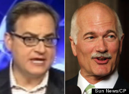 Sun News host Ezra Levant took to the airwaves Wednesday night to criticize the scope of the celebrations for the anniversary of Jack Layton's death. (Sun News/CP)
