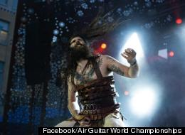 "American Justin ""Nordic Thunder"" Howard is the top Air Guitar player in the world after winning the 17th Air Guitar World Championships final at Rotuaari Square in Oulu, Northern Finland on Friday 24 August."