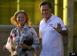 Republican presidential candidate, former Massachusetts Gov. Mitt Romney and his wife Ann leave Brewster Academy after finishing convention preparations for the day on Sunday, Aug. 26, 2012 in Wolfeboro, N.H. (AP Photo/Evan Vucci)