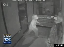 Surveillance footage shows thief as he enters beef jerky store.