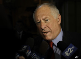 Illinois Gov. Pat Quinn speaks with reporters while heading into a meeting with legislative leaders to discuss a state pension overhaul at the Illinois State Capitol Friday, Aug. 17, 2012 in Springfield Ill. The lawmakers left the capitol without arriving at a consensus. (AP Photo/Seth Perlman)