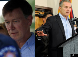 Gov. John Hickenlooper pictured left and Tom Teves, pictured right, father who lost his 24-year-old son Alex in the Aurora theater shooting.