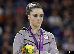 U.S. silver medallist gymnast McKayla Maroney gestures during the podium ceremony for the artistic gymnastics women's vault finals at the 2012 Summer Olympics, Sunday, Aug. 5, 2012, in London.