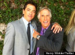 Scott Baio and Henry Winkler on set of