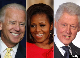 Vice president Joe Biden, first lady Michelle Obama and former president Bill Clinton.
