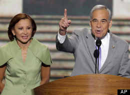 Rep. Charles Gonzalez (D-Texas) and Rep. Nydia Velázquez (D-N.Y.) address the Democratic National Convention in Charlotte, N.C., on Sept. 4, 2012. (AP Photo/J. Scott Applewhite)