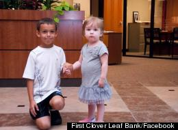 Wyatt Erber, 8, with his neighbor, 2-year-old leukemia patient Cara Kielty.